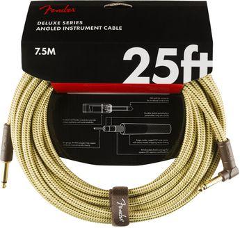 Fender Deluxe - Câble tweed jaune coudé - 7,5 m