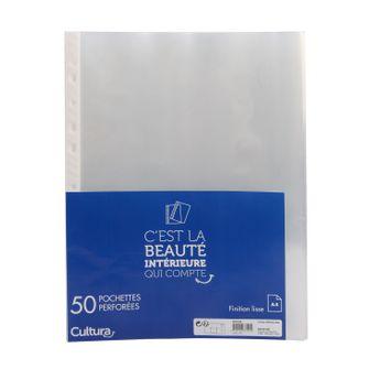 50 pochettes perforées lisses - A4 - Cultura