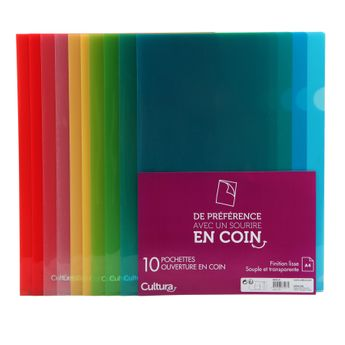 10 pochettes ouverture coin translucides - A4 - Cultura