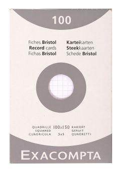 100 fiches Bristol non perforées - 10x15 cm - quadrillées
