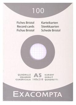 100 fiches Bristol non perforées - 14,8x21 cm - quadrillées