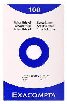 100 fiches Bristol non perforées - 12,5x20 cm - uni
