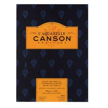 Bloc 12 feuilles Canson Heritage grain fin 300g - 23x31cm - Collées 1 côté.