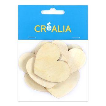 10 cœurs en bois 5 cm - couleur naturelle - Créalia