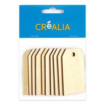 10 étiquettes en bois 6cm - couleur naturelle - Créalia