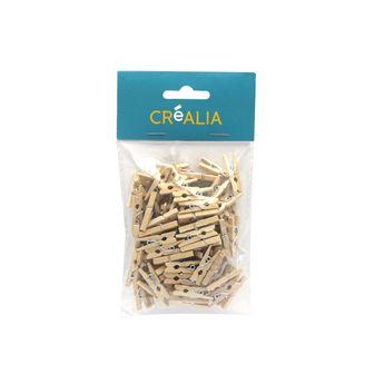 100 pinces à linge 2,5 cm - bois - Créalia